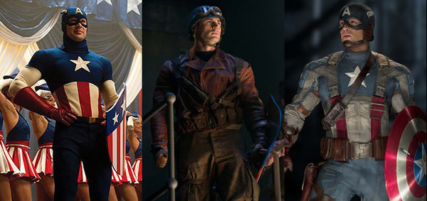 CAPTAIN AMERICA'S UNIFORMS THROUGHOUT THE MOVIE