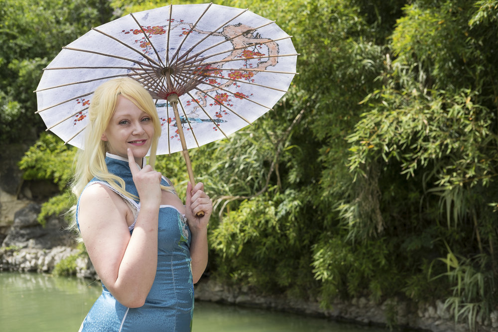 Allybelle Cosplay in Eli Ayase cosplay at the San Antonio Japanese Tea Gardens