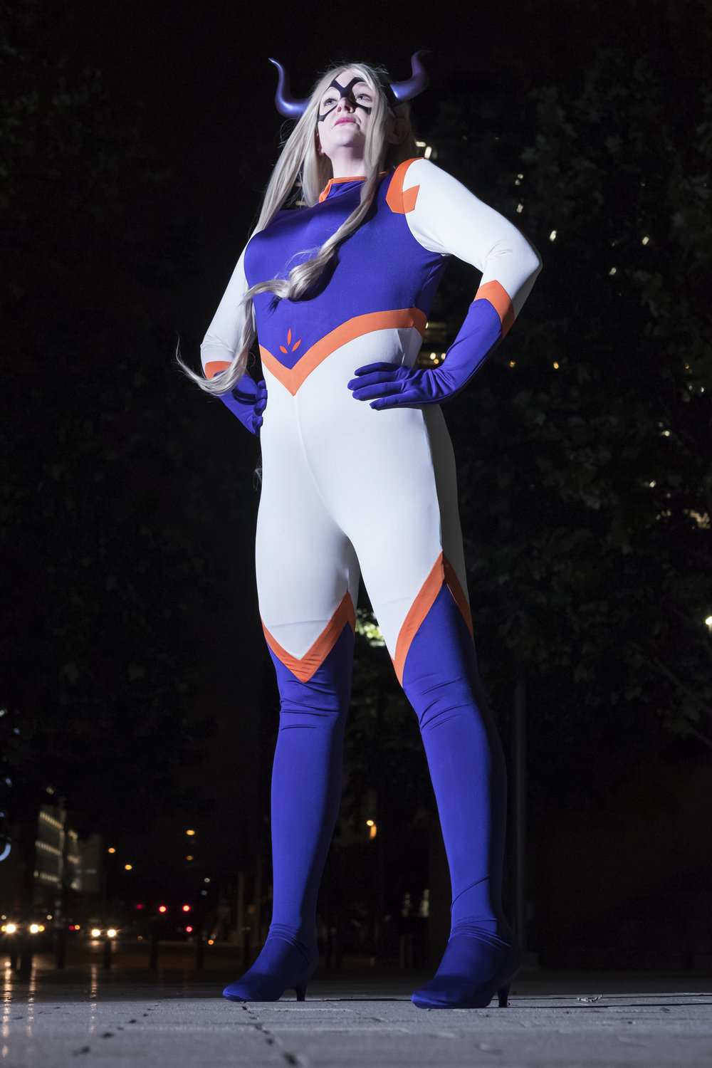 Allybelle Cosplay in Mount Lady cosplay in downtown Austin