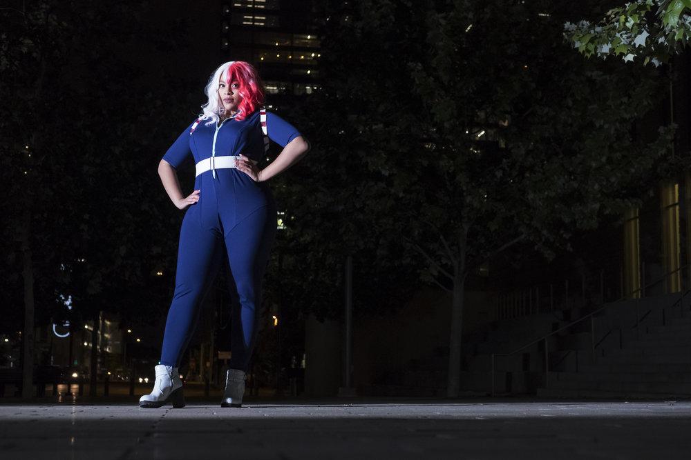 Sonia Blade in Shoto Todoroki cosplay in downtown Austin