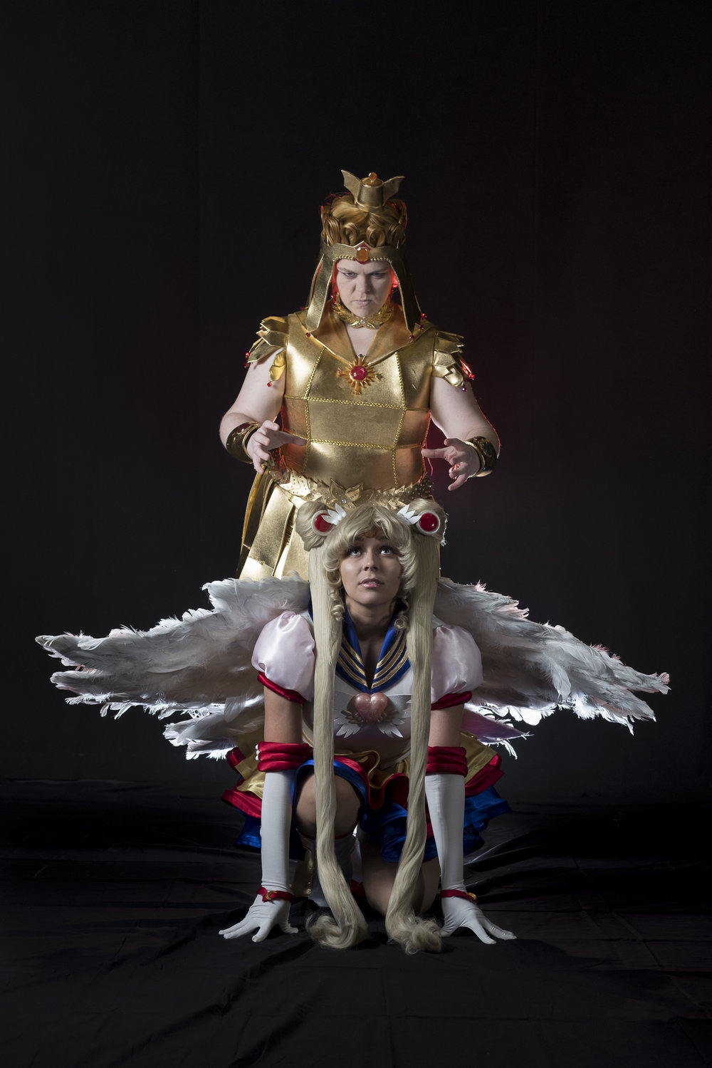 Tacocat Cosplay in Sailor Galaxia cosplay and Mermaid Child in Eternal Sailor Moon cosplay at Soundcheck Austin