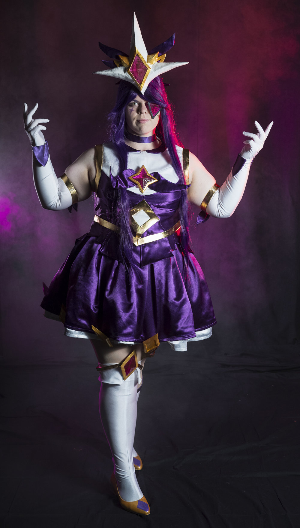 Tacocat Cosplay in Star Guardian Syndra cosplay at Soundcheck Austin