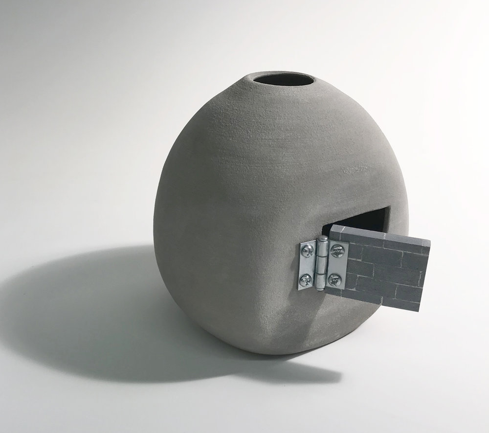 """An Oculus , Unglazed Gray Stoneware, 6"""" x 8"""" x 10"""""""