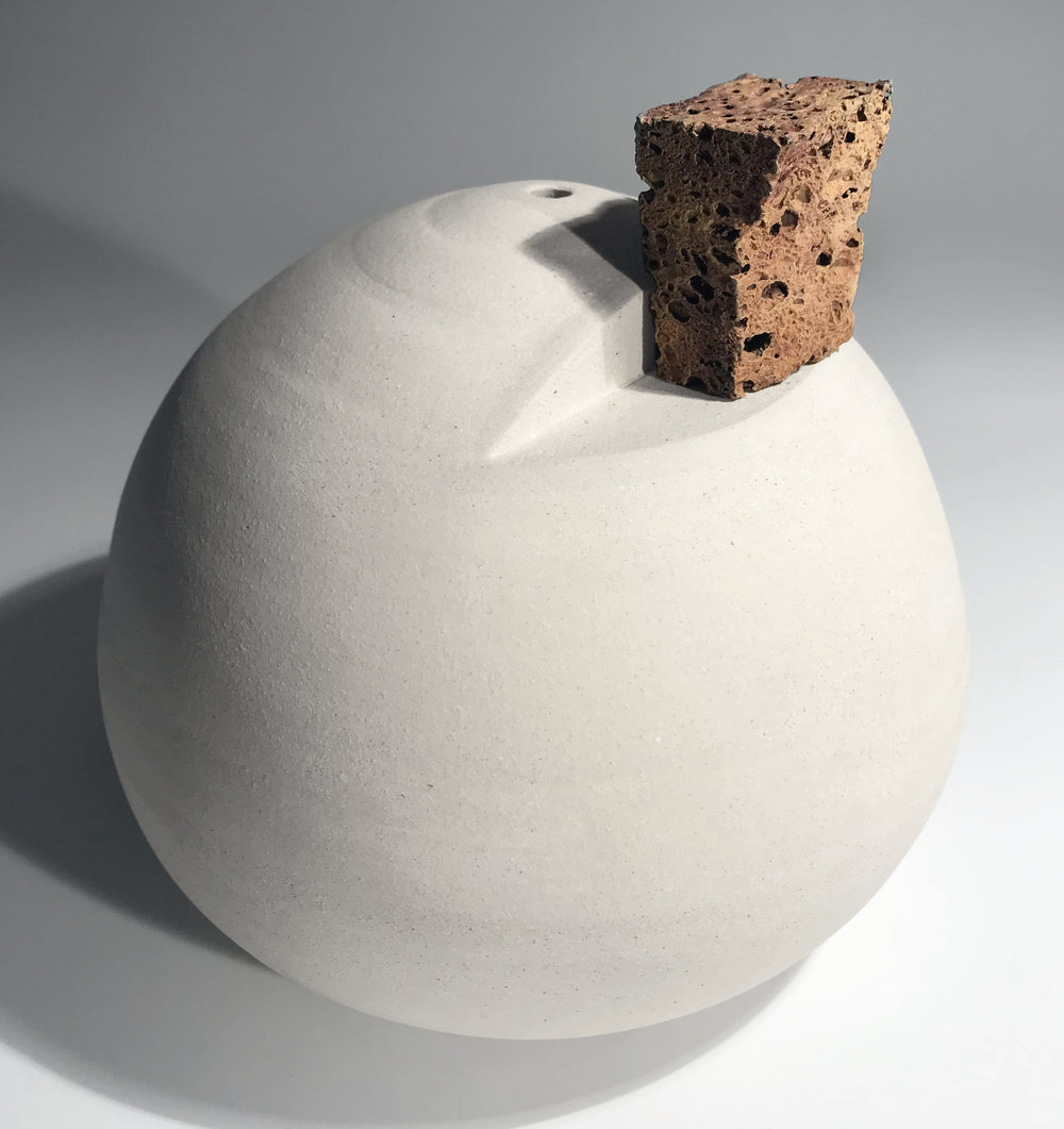 "Sphere with Mantle for Object of Its Making, Stoneware and Bronze 10"" x 10"" x 12"""