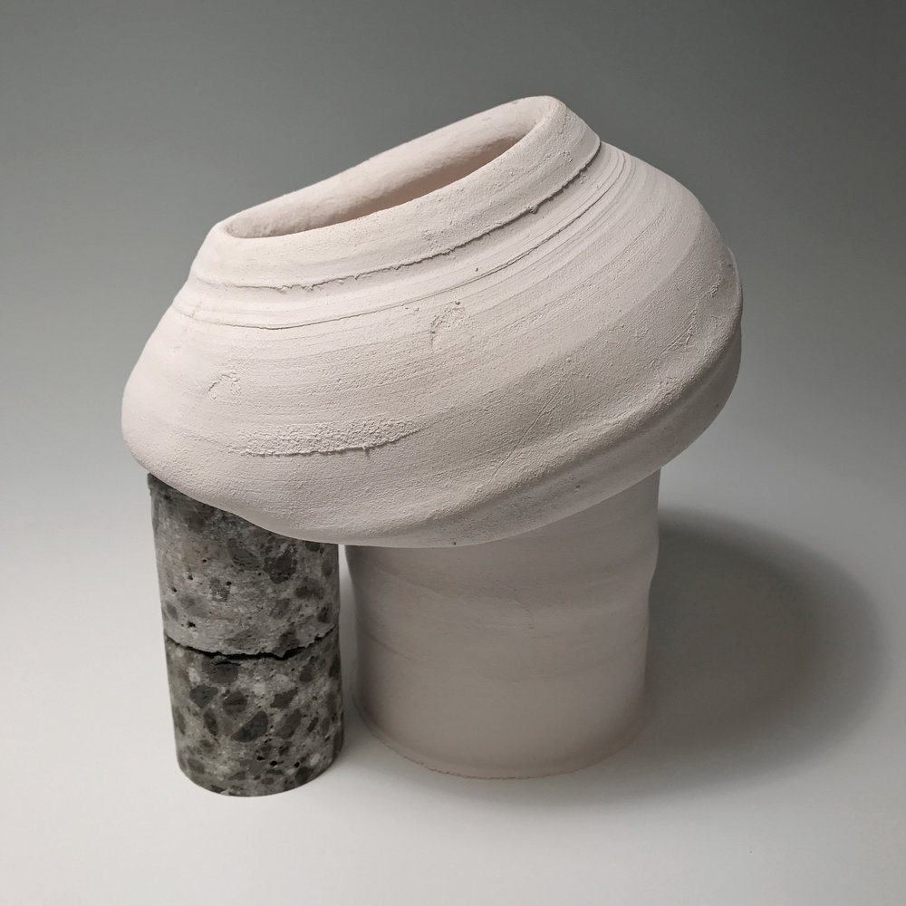 "Core Sample , Unglazed Stoneware and Concrete, 10"" x 7"" x 10"""