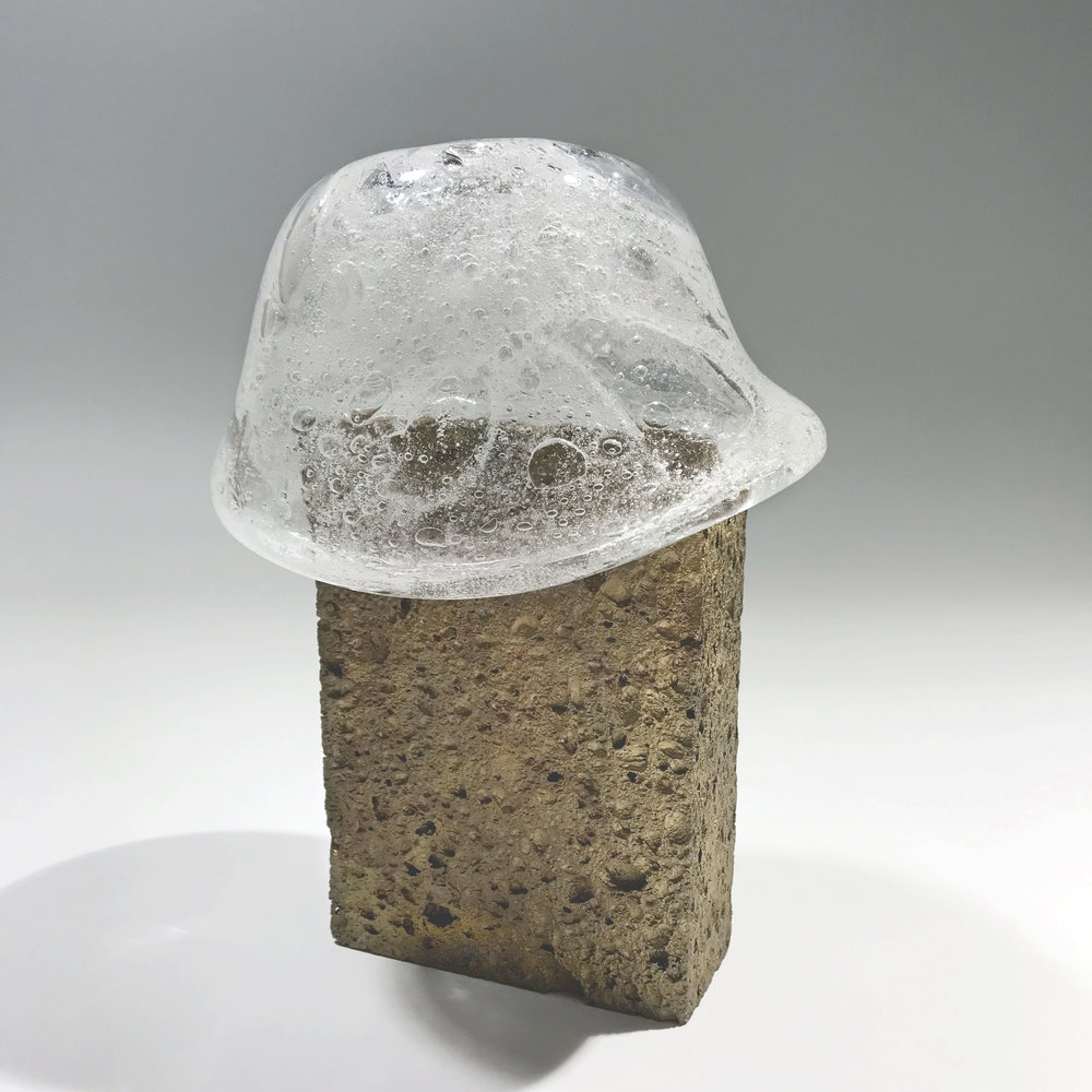 """The Giver and The Taker , 7"""" x 4"""" x 9""""  Cast bronze sponge with blown glass soap suds. Functional vessel."""