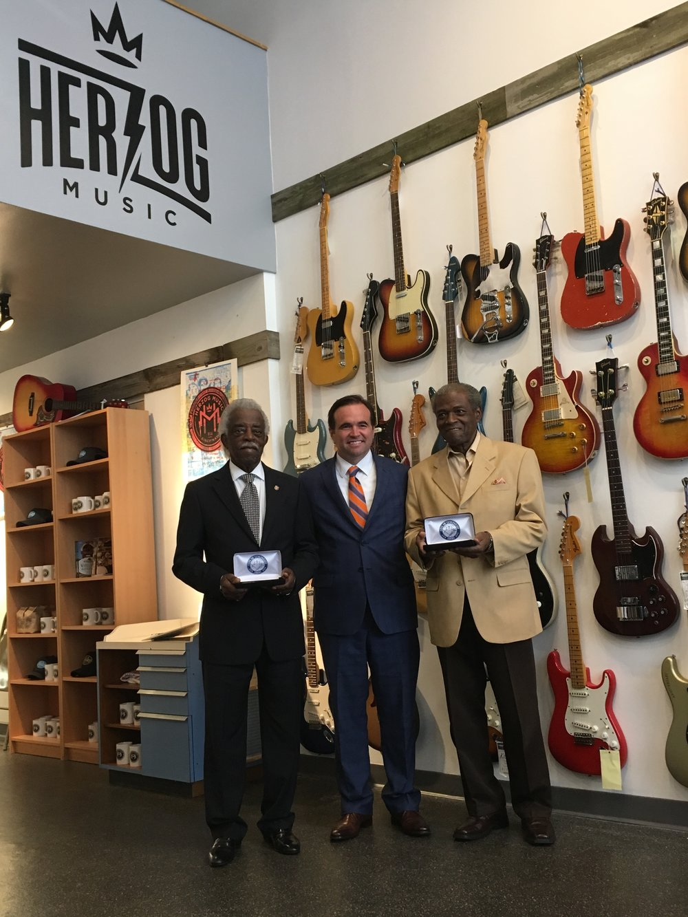 Mayor John Cranley gives keys to the city to King Records legends Otis Williams and Philip Paul, then announces City Music Ambassador program at Herzog Music