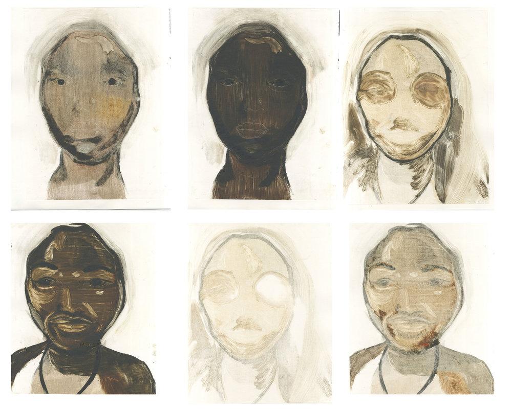 Monoprint self portrait series 2017 6 pieces each 56x35cm unframed