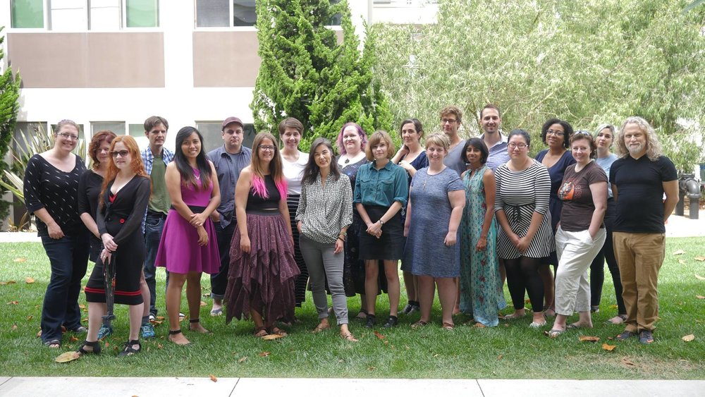 CLARION 2017   Back Row, left to right: Karen Osborne, Shelley Streeby, Luke Fredland, Amman Sabet, Ashley Mullins, Nina Niskanen, Amy Parker, Partrick Doerksen, Ted McCombs, Amanda Williams, Ren Arcamone  Front row: left to right: Margaret Jameson, Macky Cruz, Emily Lundgren, Jane Pinckard, Lucy Smith, Rachel Richardson, Sanjena Sathian, Ghislaine Lai, Rae Carson, Charlie Finlay