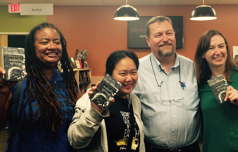 Andy Duncan with Lisa Bolekaja (2012), Jaymee Goh (2015), and Sarah Mack (2012)