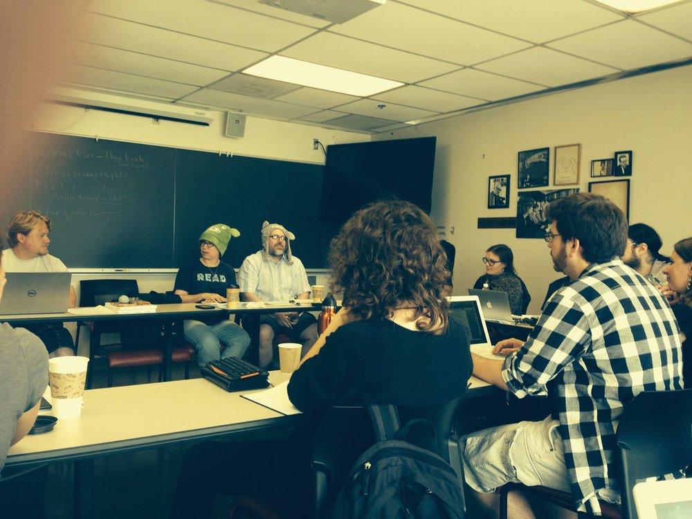 Jeff and Ann Vandermeer using creative methods in the Clarion 2014 classroom