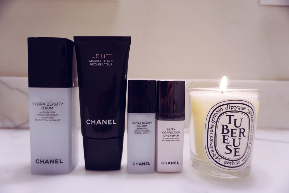 Products Linked Left To Right:  1.  Chanel: Hydra Beauty Serum   2.  Chanel: Le Lift Masque  (overnight)  3.  Chanel: Hydra Beauty Gel Yeux   4.  Chanel: Ultra Correction Line Repair  (sold-out but click for similar eye )        5.  Chanel: Le Lift Creme Fine  (Moisturizer I love)