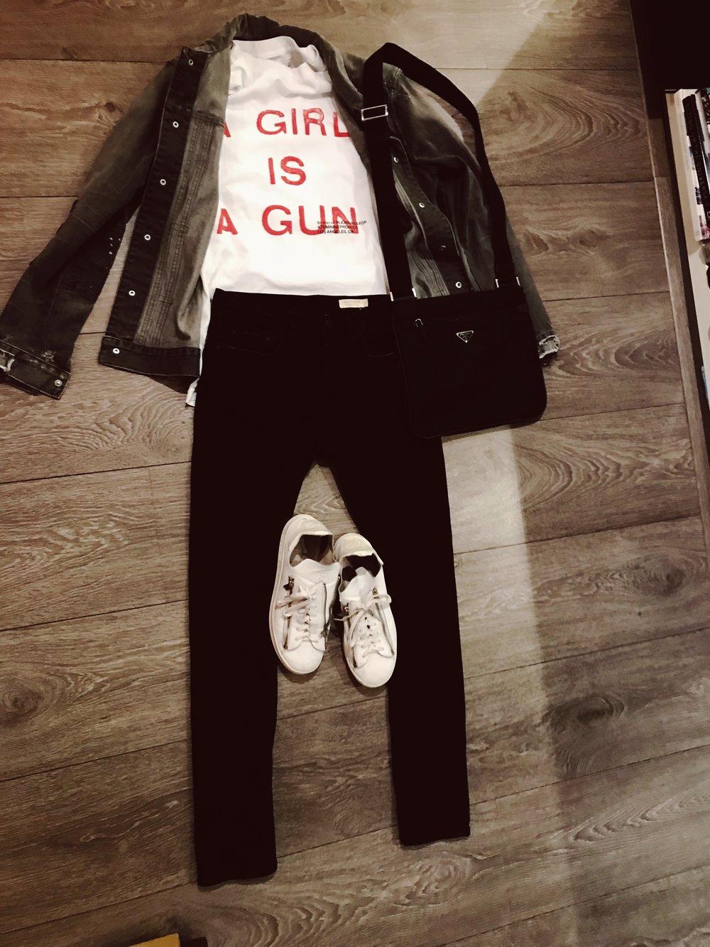 1. All Saints Denim Jacket  2. A Girl is a Gun Tshirt  3. Burberry Jeans  4. Y-3 Stan Zip Sneakers