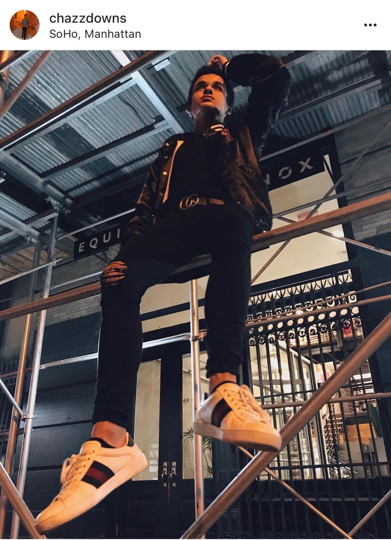1.  Anti Social Social Club Bomber Jacket   2.  Les Artists Wang T-shirt    3.  Topman Jeans    4.  Gucci Sneakers