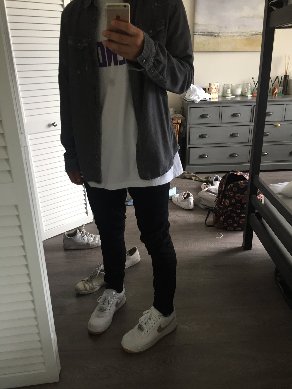 1. Vlone T-shirt  2. Camo Pants  3.  Air Force One Sneakers
