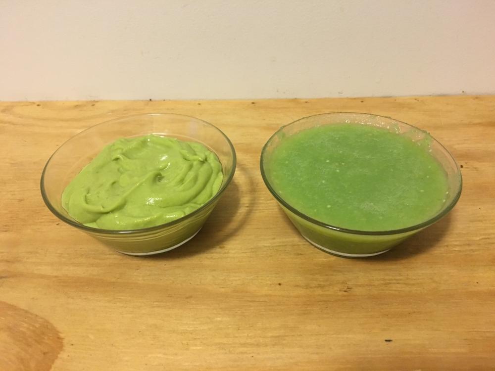 Avocado coconut crema on the left, tomatillo salsa on the right