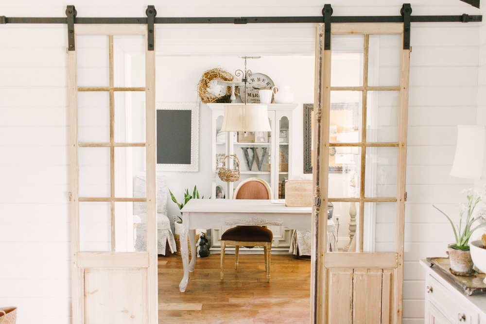 My Little White Barn Home Tour - Spring Decor Inspiration - Vintage Doors to Office - Shiplap