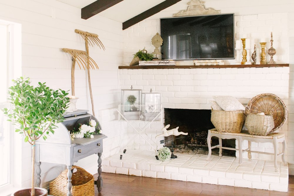 My Little White Barn Home Tour - Spring Decor Inspiration - Painted Fire Place