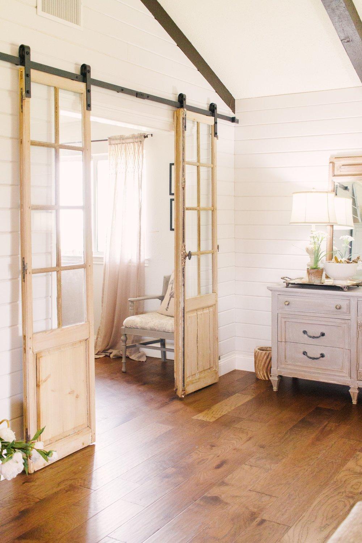 My Little White Barn Home Tour  - Spring Decor Inspiration - Office - Vintage Doors - Shiplap