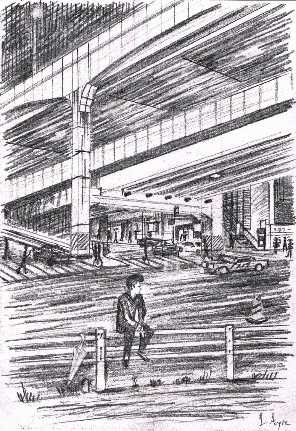 Young man sat waiting on a railing in Nishi Azabu in Tokyo