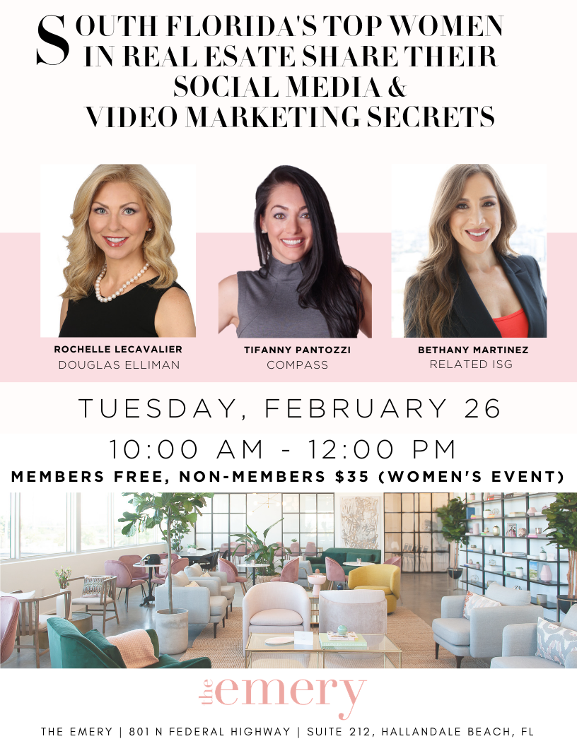 Come and learn from two Top South Florida Real Estate Agents, Bethany Martinez and Alyssa Morgan, who will be divulging all of their secrets to Real Estate Success. Our boss ladies will focus on how to Generate -14.png