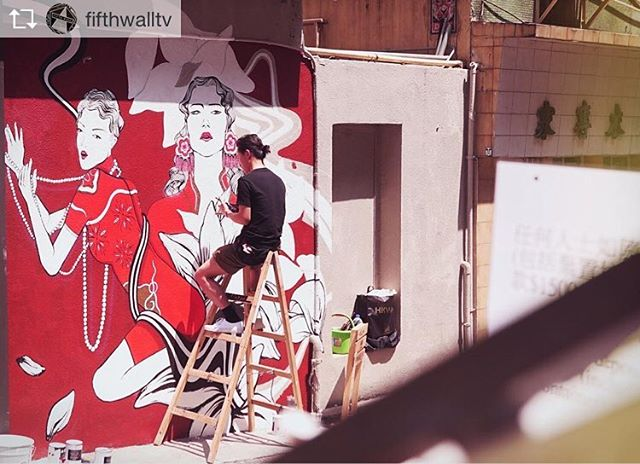 Another workinprogress shot by Fifth Wall 🙏🏻the mural in Square Street has finally done by today tho, hohohoho🤘 #mural #montanacolors #vanskhg #eicopaints #streetart #art #illustration #painting #drawing #ovolohotels . . Repost from @fifthwalltv @TopRankRepost #TopRankRepost Neill HW / @neillhw enjoying the sun in Sheung Wan today. 30+ artists spilling paint for HK Walls / @hkwalls Lister video coming soon... . . . #neillhw #hkwalls #artbasel #artcentral #fifthwalltv