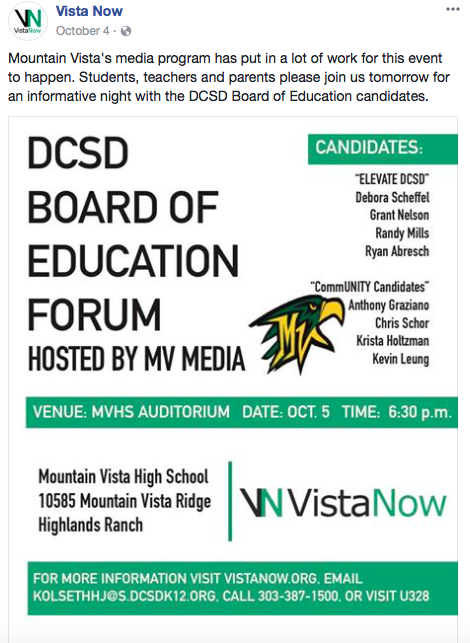 I designed this flyer to be sent out on social media and hung up around school. It was to promote an MVM-held forum for the new Douglas County School District Board of Education candidates.
