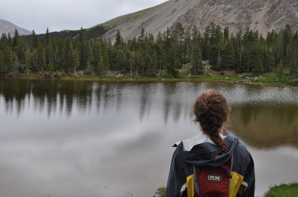My friend Avery overlooks Ptarmigan Lake and takes in nature.