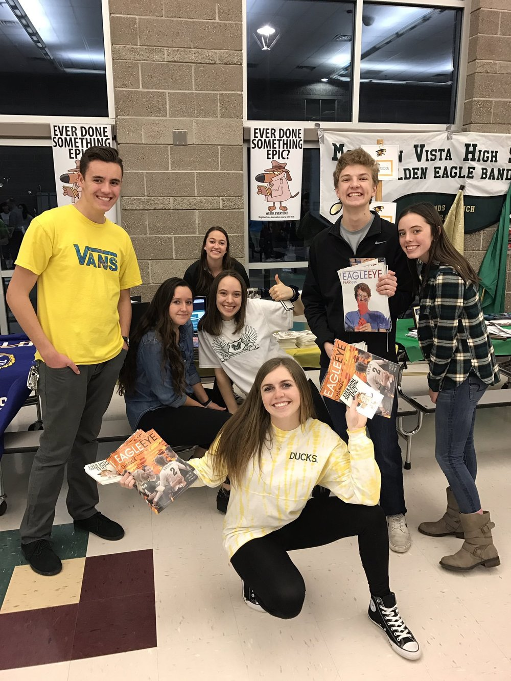 2016-2017 MV Media members promoted clubs, sports and academics at Vista during an eighth grade night.