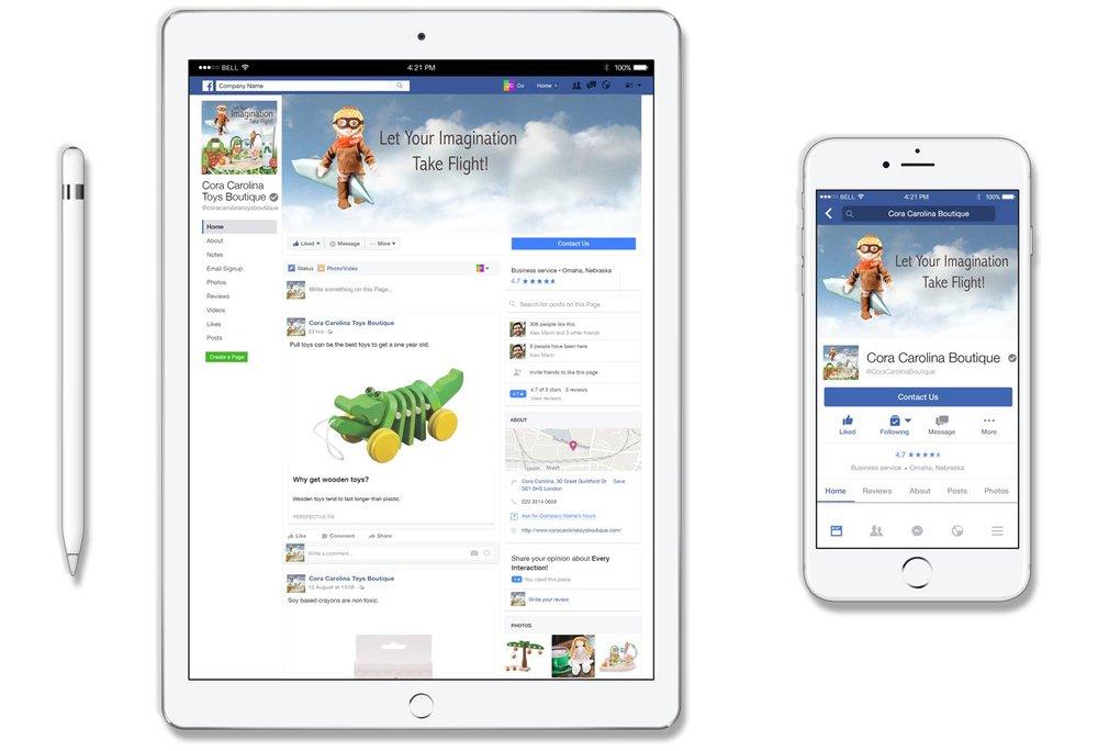 Cora Carolina - A Toy Boutique Facebook Page Design