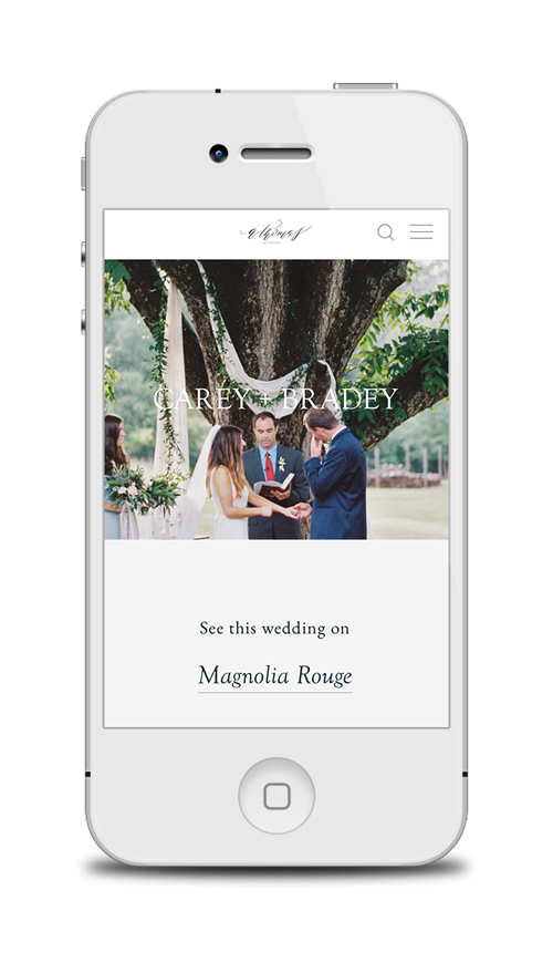 FEATURE LINKS - As Abigail takes her business to the next level, we wanted to make sure it was obvious which of her weddings and editorials have been featured online or in print. We added above-the-fold links in each portfolio piece to make sure you can't miss it.