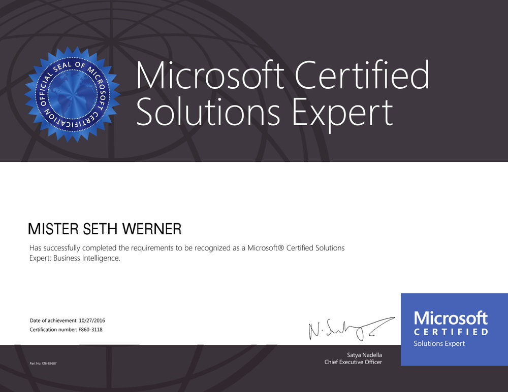 MCSE: Business Intelligence - October 2016This certification tests skills and techniques needed to design, build, and deploy SQL Server business intelligence solutions that deliver data value to people across an organization.
