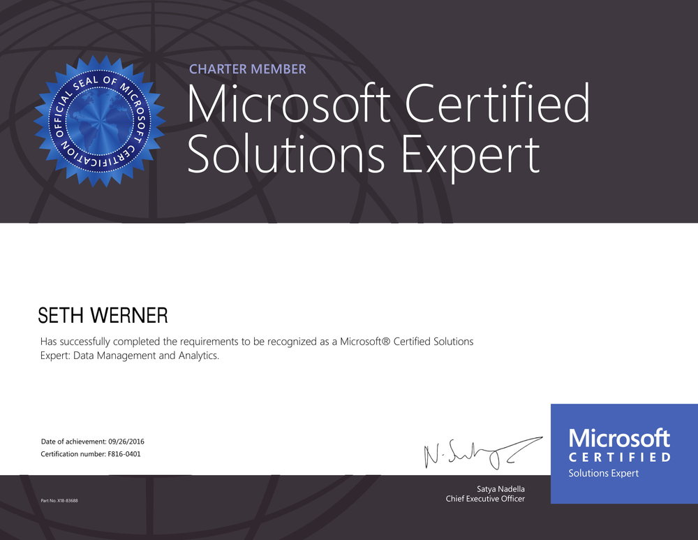 MCSE: Data Management & Analytics - September 2016This certification demonstrates broad skill sets in SQL Server administration, building enterprise-scale data solutions, and leveraging business intelligence data in both on-premises and cloud environments.