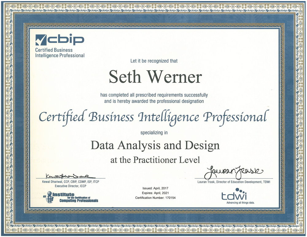 CBIP: Data Analysis & Design - April 2017This certification tests the foundation for delivery of business intelligence applications by focusing on requirements analysis, data modeling, system architecture, and core data warehousing concepts.