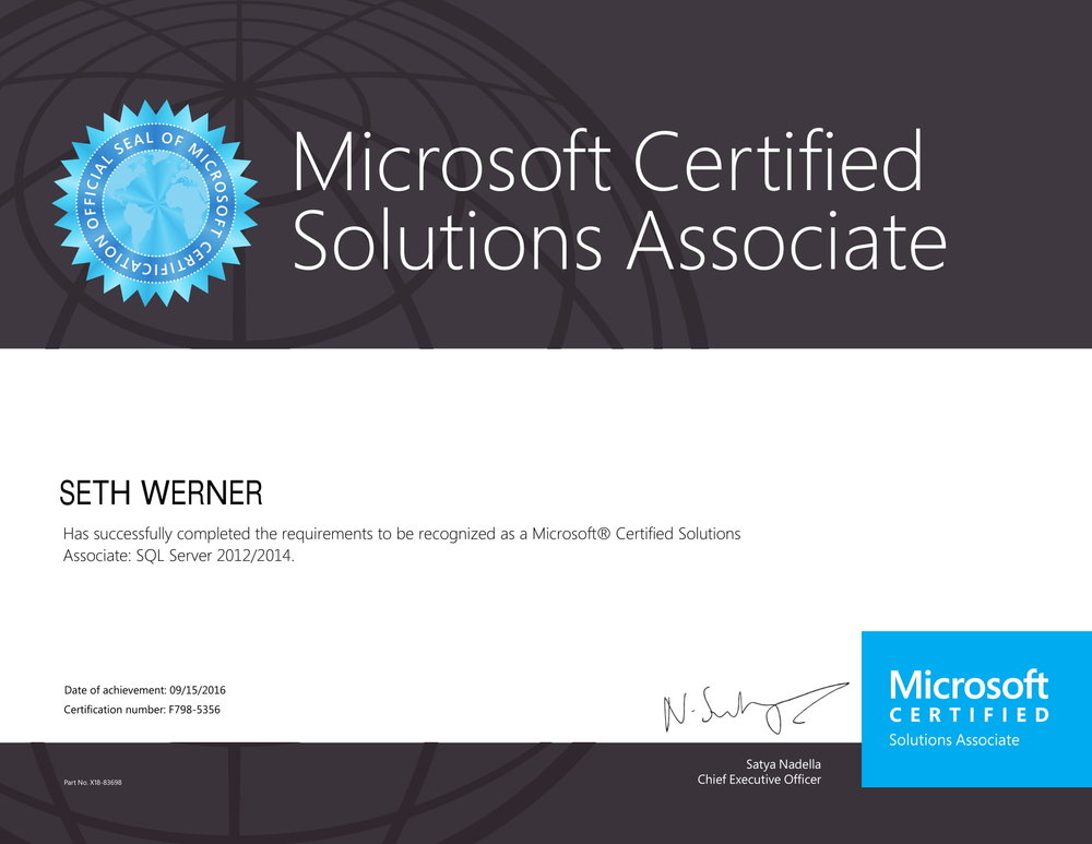 MCSA: SQL Server 2012/2014 - September 2016This certification demonstrates skills and breakthrough insights in developing and maintaining the next wave of mission-critical environments.