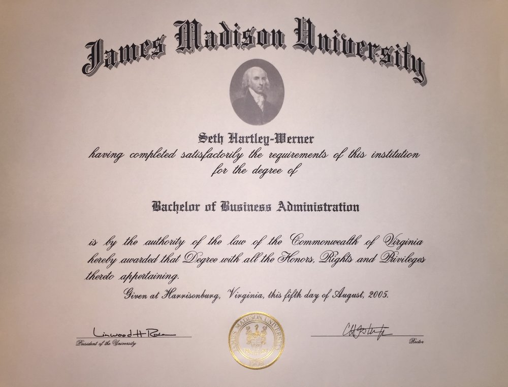 Bachelor of Business Administration - James Madison UniversityHarrisonburg, Virginia2005