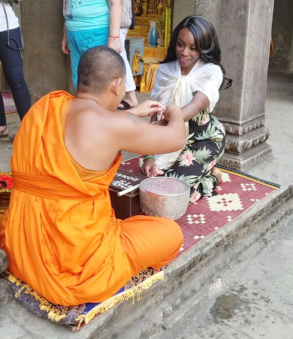 Water blessings from a Buddhist monk