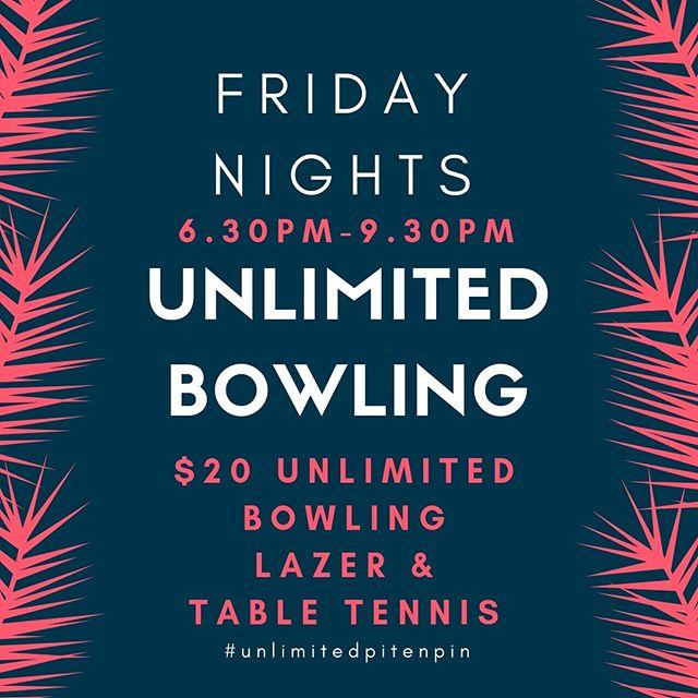 Kick 🦵 off the long weekend the right way! Unlimited Bowling this Friday night! Yew!! 🙌🏻🤩 #unlimitedpitenpin #longweekend #labourdayweekend #phillipisland #familyfun #tgif
