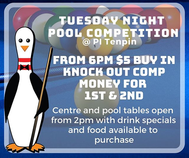 We've got it all going on for Chill Tues, pool comp is back up and running! Tables are open for free from 2-6 then it's game on with a $5 buy in with money prizes for 1st & 2nd. Check out our new drink specials while you're sharking it up! 🦈🎱🍻#pitenpin #poolcomp #tuesdaychillday #drinkspecials #poolshark #getthecrewtogether