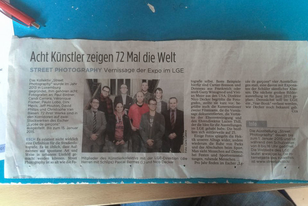 Article in Tageblatt about the collective exhibition by Street Photography Luxembourg at the Lycee de Garcons Esch-sur-Alzette