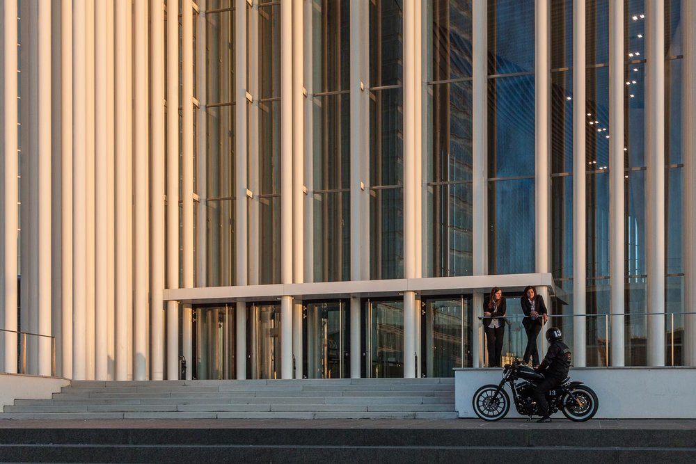 Luxembourg City - Motorcycle in front of Philharmonie in Luxembourg City - Philharmonie - Collective exhibition at KUFA