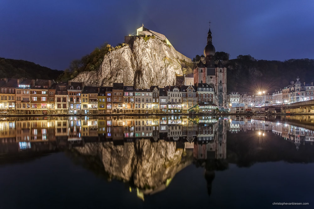 Dinant - Belgium - Dinant, Belgium, by night, with it's citadel and church reflected in the Meuse river - Dinant by Night