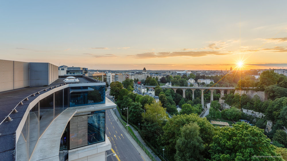 Luxembourg City - Sunset over the Petrusse valley as seen from the sky bar of the Sofitel Grand Ducal Hotel in Luxembourg - City Rooftops