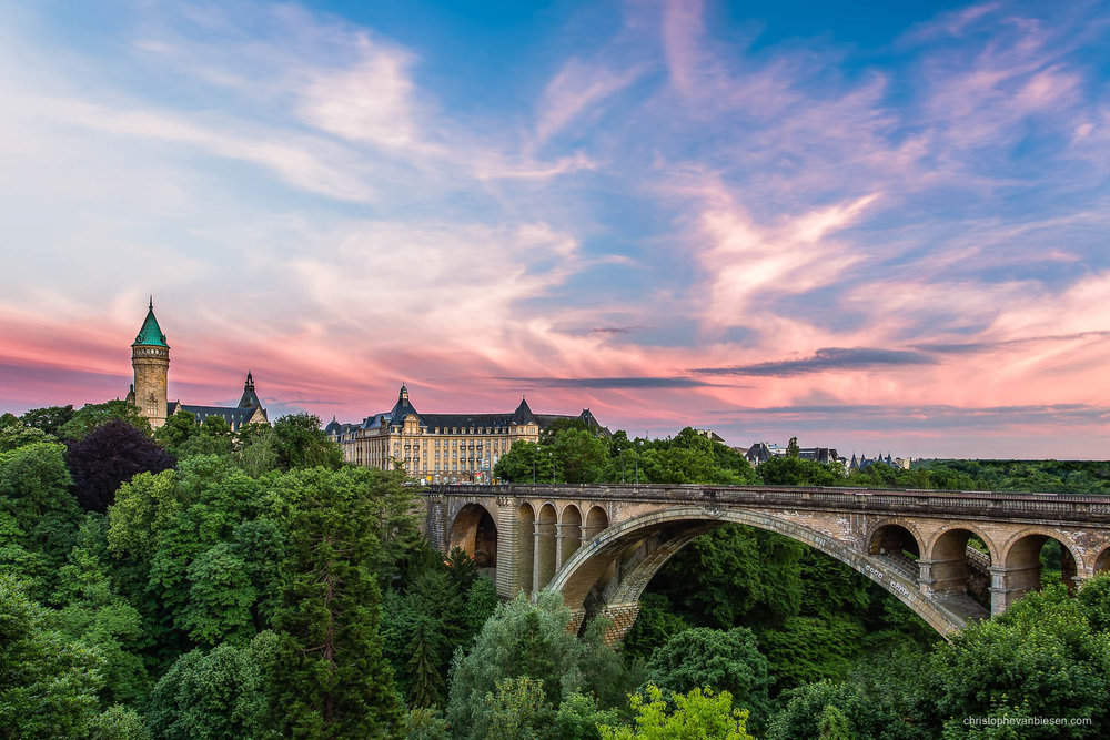 Summer in Luxembourg - Luxembourg City's Banque et Caisse d'Epargne de l'Etat tower overlooking the Petrusse valley and Adolphe bridge - Treasure Tower