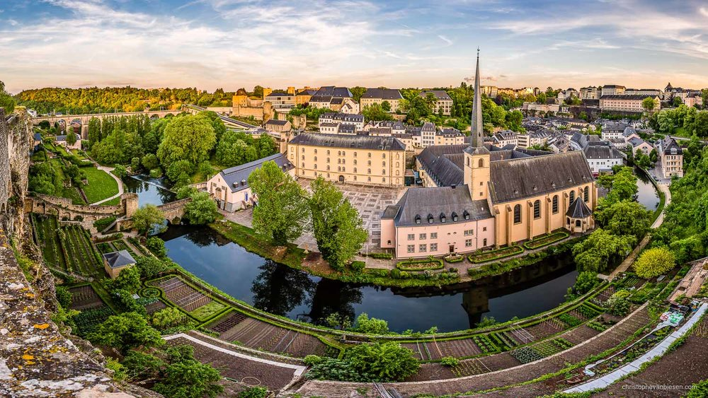Summer in Luxembourg - Luxembourg's Grund as seen from the Rocher du Bock - Along Green Shores