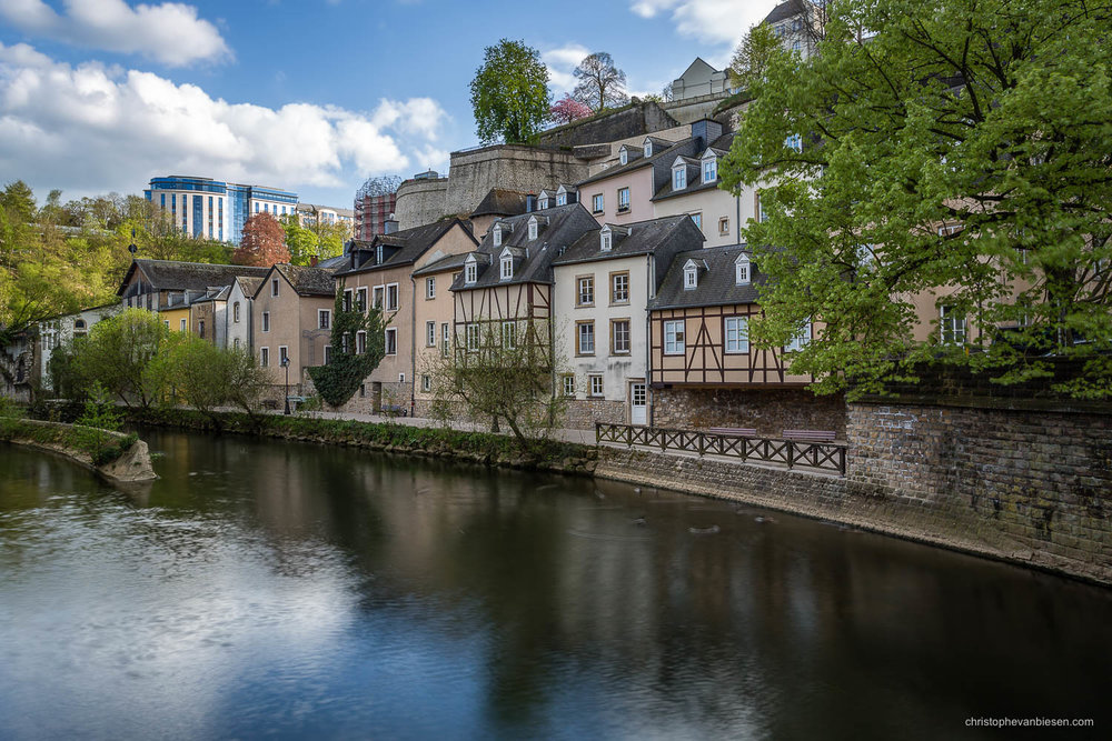 Summer in Luxembourg - Riverside promenade along the Alzette in the Grund neighbourhood in Summer in Luxembourg - Quiet Waters