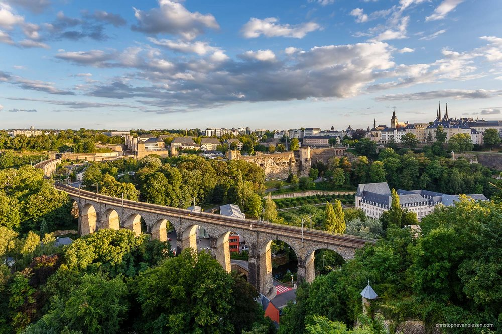 Summer in Luxembourg - The Old Bridge in Luxembourg City's Pfaffenthal during a golden summer sunset - Golden Old Bridge