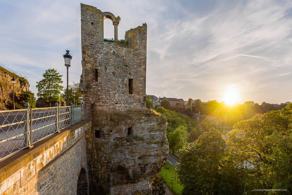 Summer in Luxembourg - The Tower of the Hollow Tooth on the Bock above the Casemates was part of Luxembourg's ancient fortress - Hollow Tooth