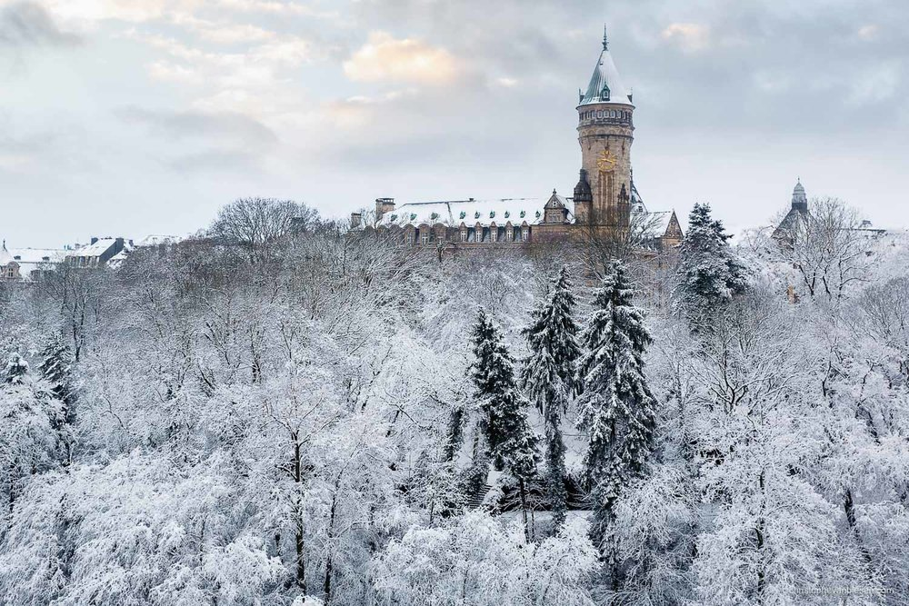Winter in Luxembourg - Winter in Luxembourg City. BCEE tower overlooking the valley of the Petrusse - A Dream of Snow