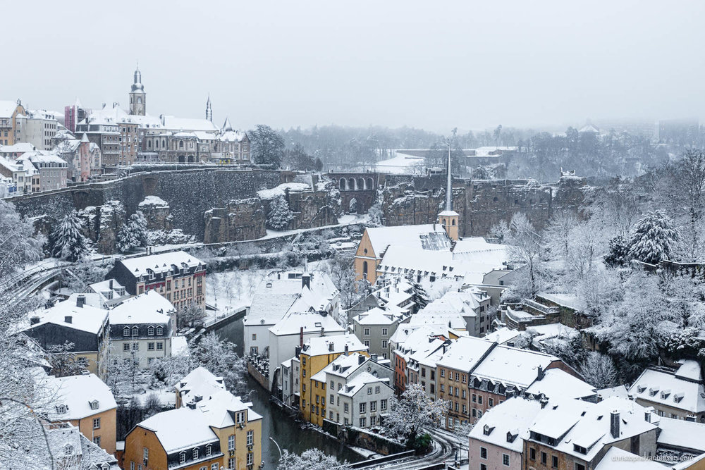Winter in Luxembourg - Luxembourg City's Grund on a ice cold winter morning with heavy snowfall - Winter's Kiss